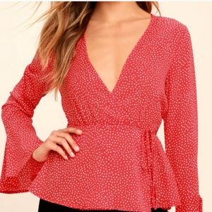 Lulus LOVE IS ENOUGH RED POLKA DOT WRAP TOP